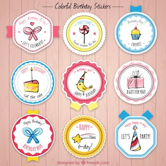 Collection of birthday badge with cute drawings