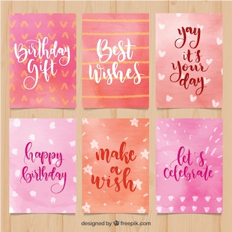 Collection of birthday cards in pink watercolour