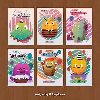 Collection of birthday cards with cute monsters