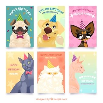 Raccolta di carte di compleanno con animali domestici