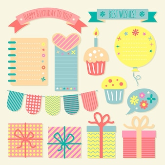 Collection of birthday decorative scrapbook elements
