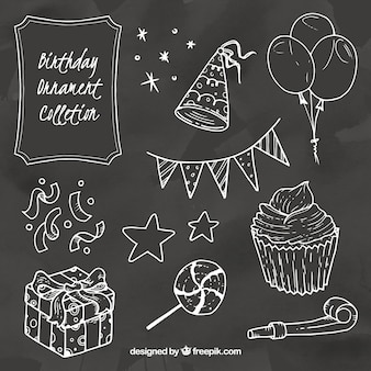 Collection of birthday elements in chalk style