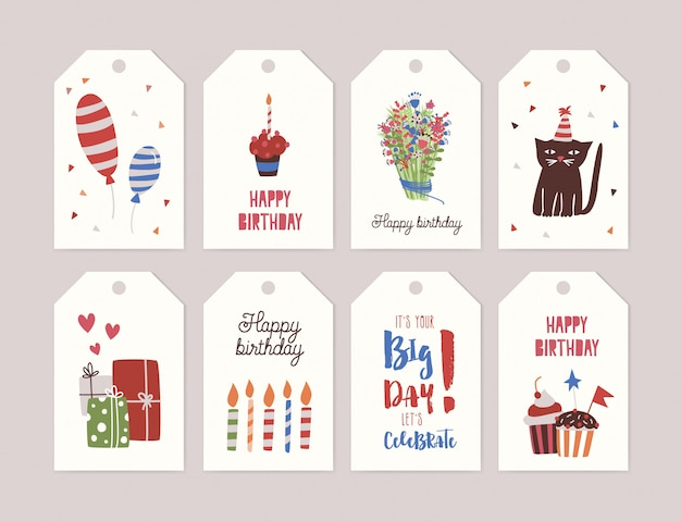 Collection of birthday labels or tags
