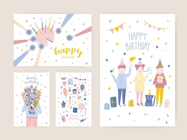 Collection of birthday party invitation templates with happy people, cake with candles and person holding bouquet of flowers