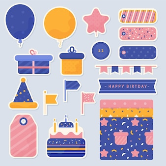 Collection of birthday scrapbook elements