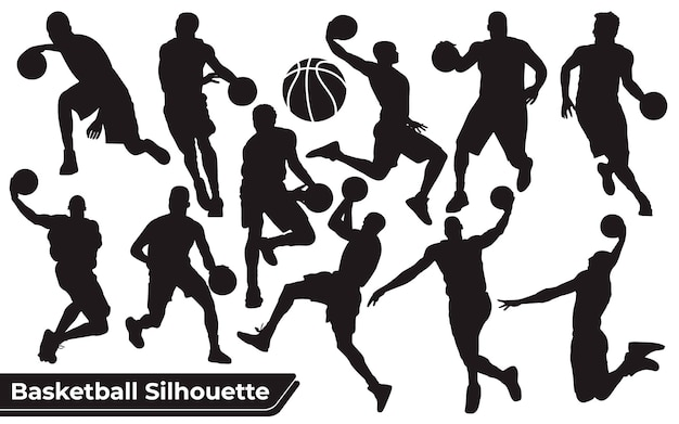 Collection of black basketball player silhouettes