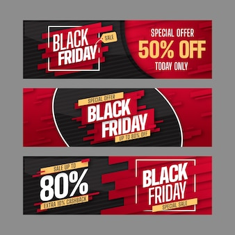 Collection of black friday banners