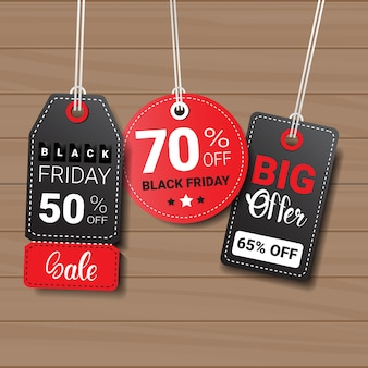 Collection of black friday tags or labels