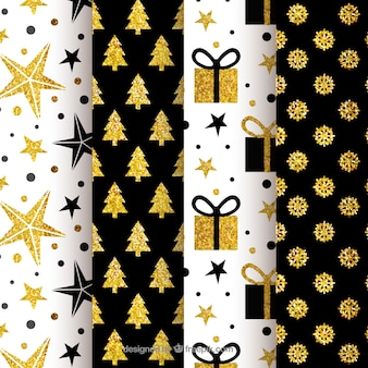 Collection of black and golden christmas patterns Free Vector