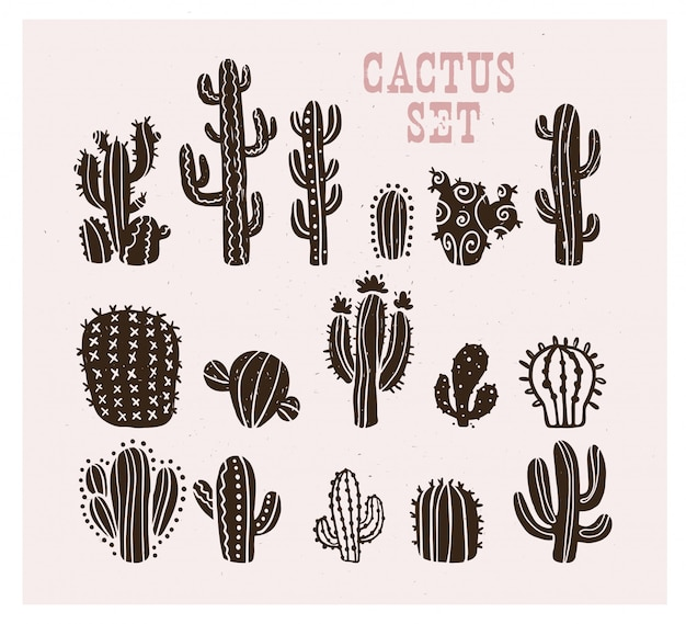 Collection of black hand drawn cactus sketch collection isolated. flat cactus icon set. nature elements illustration.
