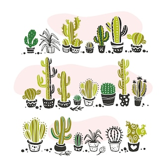 Collection of black hand drawn cactus standing in row sketch collection isolated on white background. flat cactus icon set. nature elements illustration.