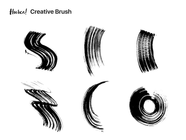 Collection of black paint strokes of different shapes made with dry brush Premium Vector