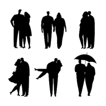 Collection of black silhouettes of couples in love