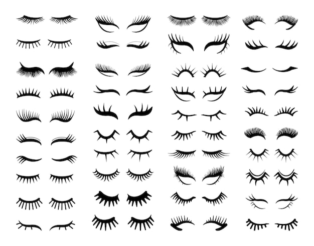 Collection of black silhouettes of eyelashes