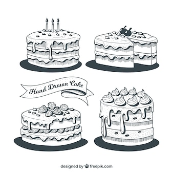 Groovy Collection Of Black And White Birthday Cakes Free Vector Birthday Cards Printable Trancafe Filternl