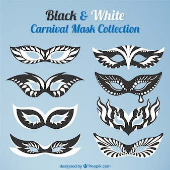 Collection of black and white carnival masks