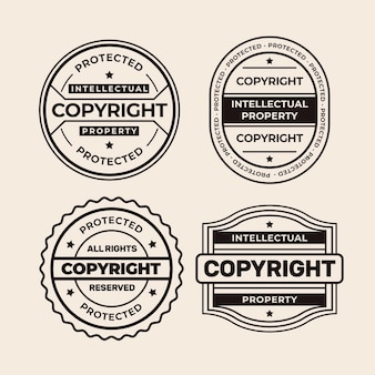 Collection of black and white copyright stamps