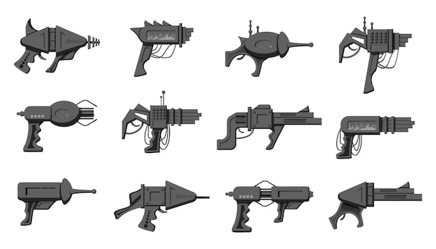 Collection of black and white futuristic blasters isolated on white