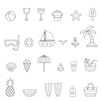 Collection of black and white summer elements. coloring pages.