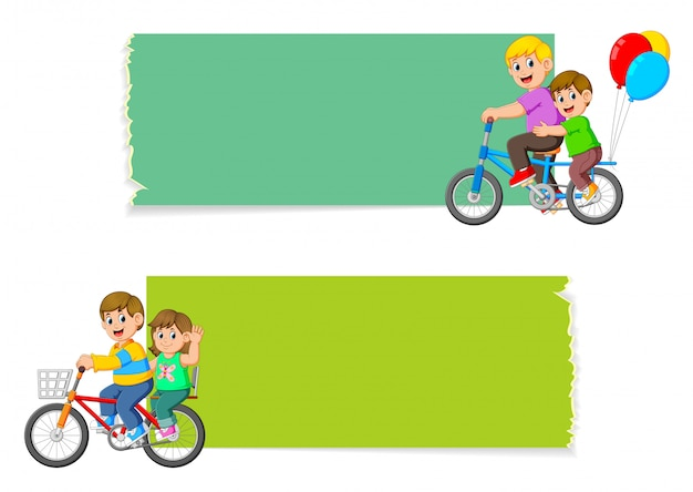 The collection of the blank board with the children riding the bicycle
