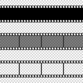 Collection of blank cinema film strip frames with different shape.