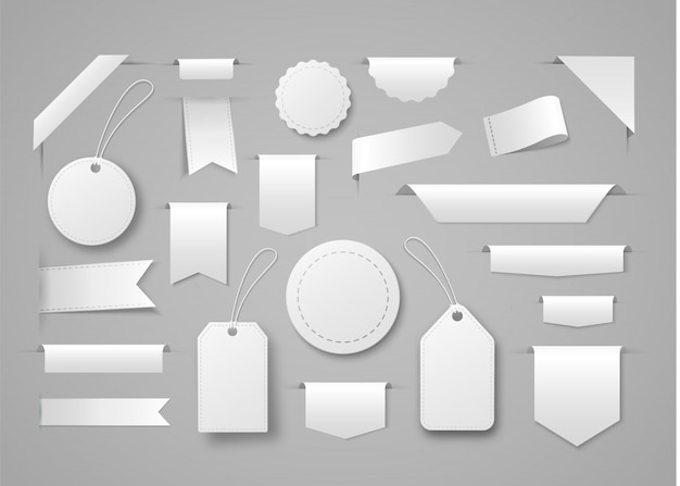 Collection of blank ribbon banners, tags and labels for commercial