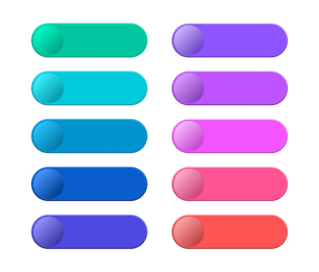 Collection blank template of web buttons. modern multicolored buttons for website.