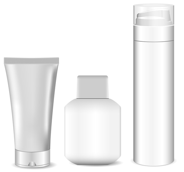 Collection of blank white men cosmetic tubes.