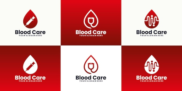 Collection of blood donation logo design inspiration