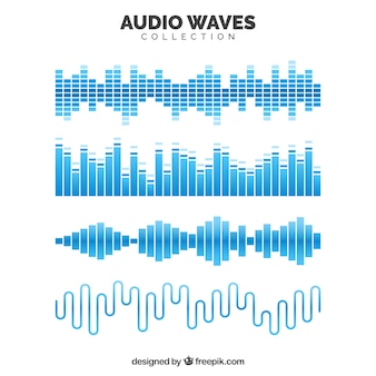 Collection of blue audio waves