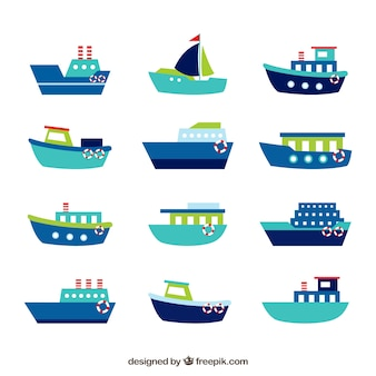 Collection of blue boats with green and red details