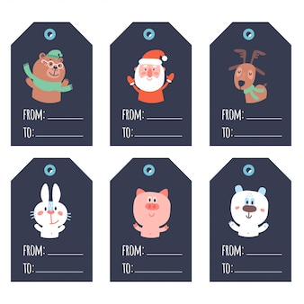 Collection of blue christmas and new year cute ready-to-use gift tags