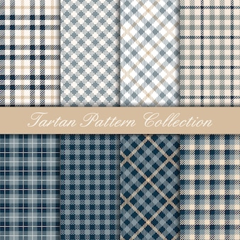 Collection of blue elegant tartan pattern