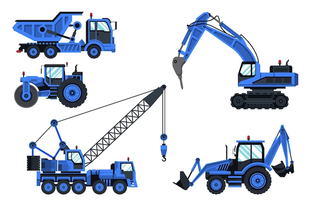 Collection of blue excavators