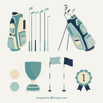 Collection of blue golf elements Premium Vector