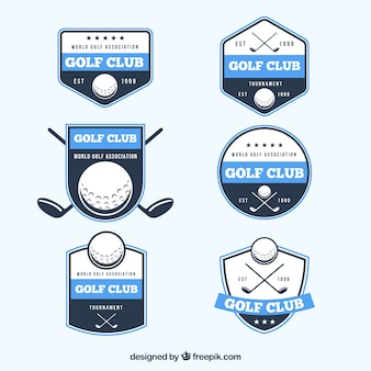 Collection of blue golf labels