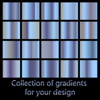 Collection of blue gradient backgrounds. set of blue metallic textures.