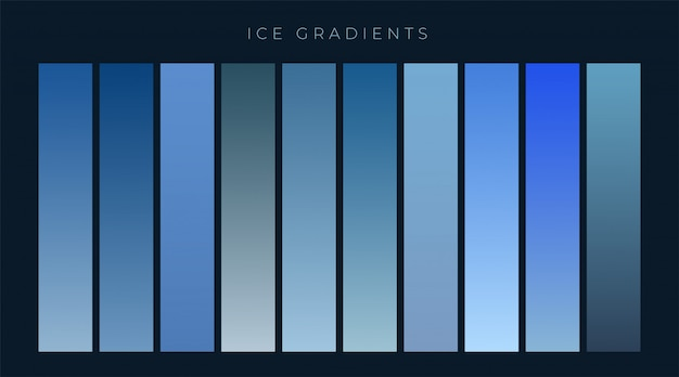 Collection of blue gradients background