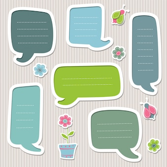 Collection of blue and green speech bubbles. cute frames.