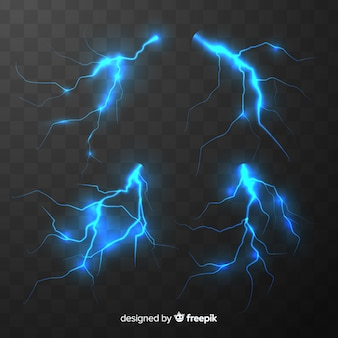 Collection of blue lightning on transparent background
