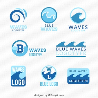 Collection of blue logos with waves