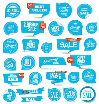 Collection of blue modern badges and labels