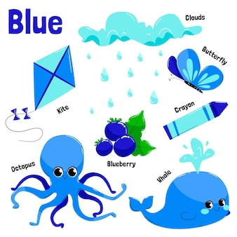 Collection of blue objects and vocabulary words in english