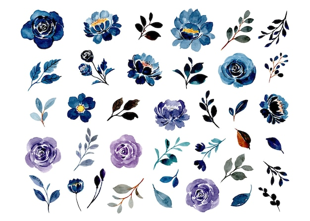 Collection of blue and purple watercolor floral elements