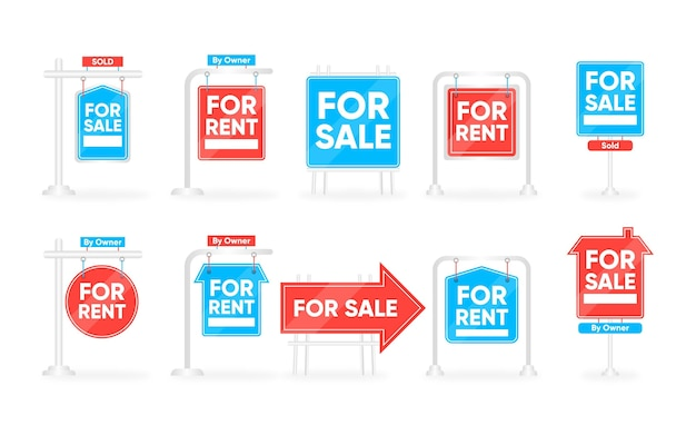 Collection of blue and red sale real estate signs