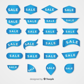 Collection of blue sales label