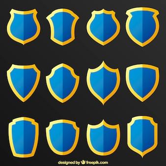 Raccolta di scudi blu