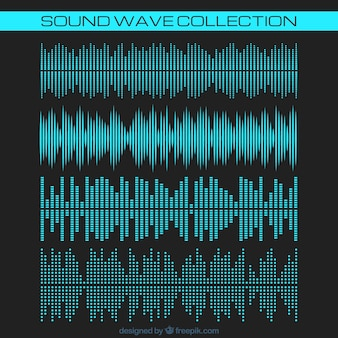Collection of blue sound waves