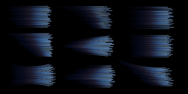 Collection of blue speed lines isolated blue light electric light light effect png
