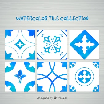 Collection of blue watercolor tiles